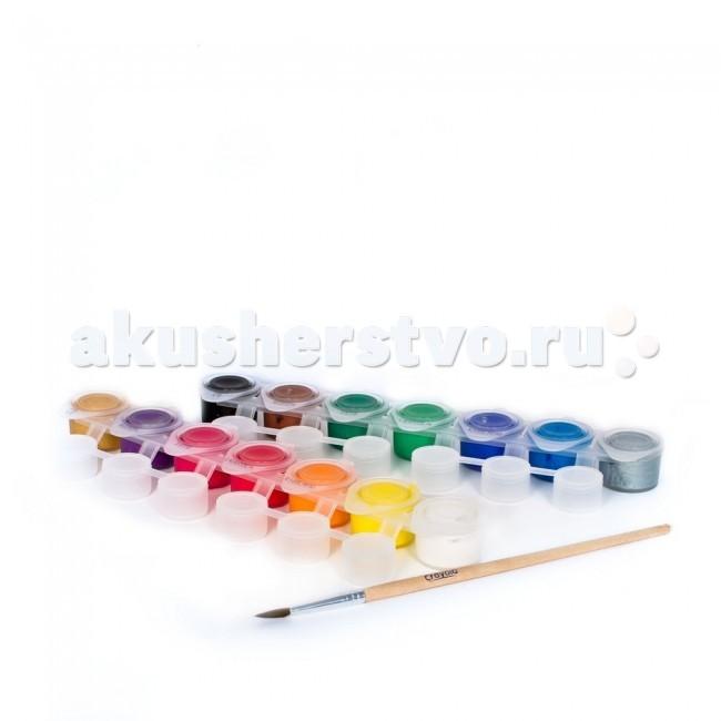 Crayola Набор из темперных красок и кисточкиНабор из темперных красок и кисточкиCrayola Набор из темперных красок и кисточки - в этом наборе вы найдете 14 баночек с темперной краской и кисточку с натуральным ворсом. Каждая из баночек оснащена закрывающейся крышкой, что позволит юному художнику работать максимально удобно и аккуратно.   Всего в наборе 88,7 мл краски. Ее состав гипоаллергенен, при попадании на кожу ребенка он не вызывает раздражений. Кроме того, специальная технология Crayola позволяет этим краскам легко смываться не только с детских рук, но и с одежды и мебели, что по достоинству оценят родители, которым приходится убирать следы творческого процесса.   Такими красками вы можете рисовать на любых поверхностях, будь то бумага, дерево, картон, папье-маше и многое другое. Они отлично подходят для школьных уроков рисования и самостоятельного творчества.   Диаметр одной баночки: 2,5 см.   Длина кисточки: 17 см.   Краски предназначены для детей в возрасте от 3 лет.<br>
