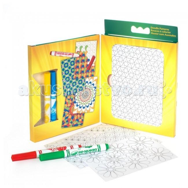 Crayola Набор для рисования Рисуем узорыНабор для рисования Рисуем узорыCrayola Набор для рисования Рисуем узоры - это картонный кейс, в отсеках которого удобно расположились 40 листов для раскрашивания, 20 листов с наклейками и 4 фломастера. Такой набор принадлежностей для рисования можно взять с собой в дорогу, в детский сад или в гости.   На черно-белых листах для раскрашивания вы найдете оригинальные узоры разной сложности. Яркие линии и четкие контуры рисунков облегчают процесс работы с ними. Каждый рисунок располагается на отдельном листе, не нужно вырывать его из альбома, удобно раскрашивать. Размер каждой картинки: 12,6х8,9 см.  Фломастеры Crayola – качественные и безопасные принадлежности для детского творчества. При их изготовлении использованы только нетоксичные компоненты, чернила, попавшие на детские руки, не вызывают раздражения и легко смываются. Кроме того, они дают яркий цвет, равномерно распределяющийся по листу бумаги. В наборе вы найдете 4 фломастера: синий, зеленый, желтый и красный.   Такой набор подойдет для всех юных художников в возрасте старше 3 лет.<br>