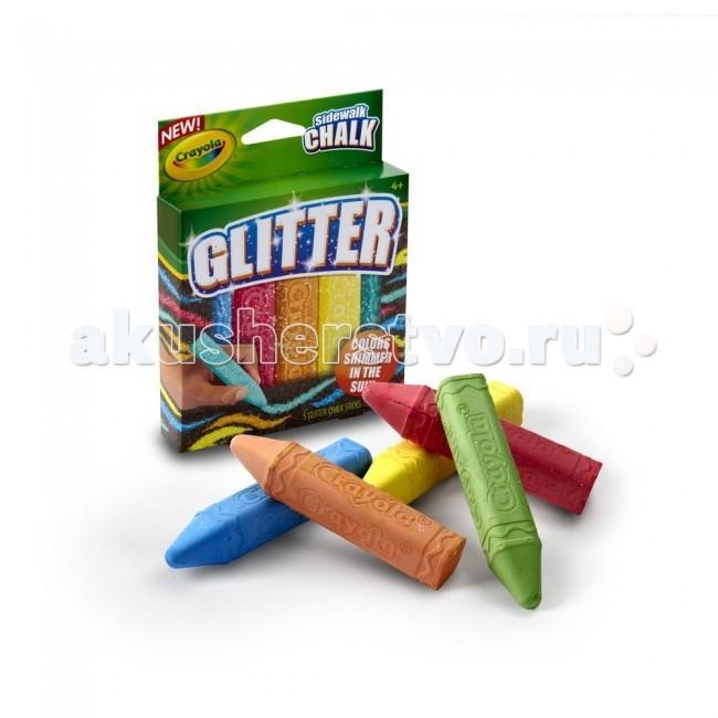 Мелки Crayola с блестками для асфальта 5 цветов