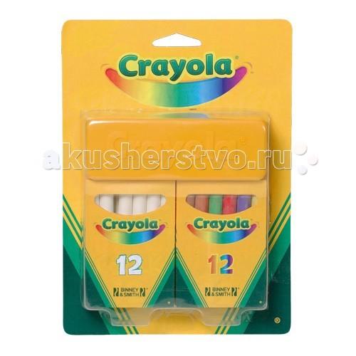 Мелки Crayola Набор из 12 белых и 12 цветных мелковНабор из 12 белых и 12 цветных мелковCrayola Набор из 12 белых и 12 цветных мелков - этот набор из 12 белых и 12 цветных мелков, а также губки для стирания будет незаменим как в школе, так и дома при письме и рисовании на доске с грифельным покрытием. Неосыпающиеся мелки Crayola сделают вашу работу более аккуратной.  Специальная формула в составе этих мелков позволяет минимизировать выделение пыли при письме. Это важно для детей, склонных к аллергическим реакциям. Кроме того, белая и цветная пыль не попадет на школьную форму и не испортит ее.   Мелки Crayola очень прочные. Они не токсичны, не содержат вредны красителей.  В упаковке губка, 12 белых и 12 цветных мелков. Длина каждого мелка – 8 см, ширина - 0,9 см.   Мелки предназначены для детей старше 4 лет.<br>