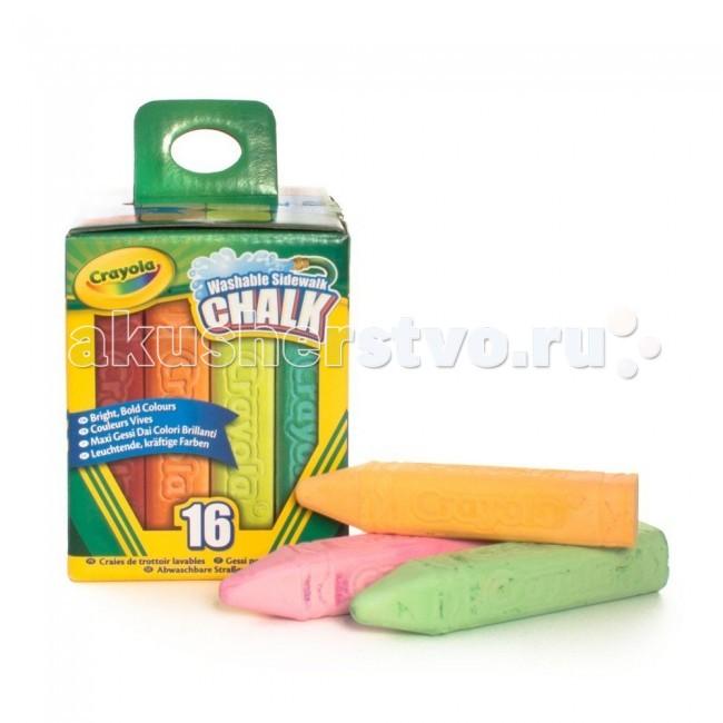 Мелки Crayola смываемые для рисования на асфальте 16 шт.смываемые для рисования на асфальте 16 шт.Мелки Crayola смываемые для рисования на асфальте 16 штук - в этом наборе вы найдете богатую палитру оттенков. Целых 16 разноцветных смываемых мелков для рисования от Crayola. Ими можно нарисовать все, что угодно. Эти мелки – новинка 2014 года. Они оставляют максимально яркие и насыщенные следы на асфальте. Попробуйте, чтобы убедиться в этом.   Благодаря специальной утолщенной форме мелки обладают стойкостью к повреждениям. Такой мелок не расколется от чрезмерного нажима или падения на асфальте. Идеально для всех детей старше 4 лет.  Длина одного мелка – 10 см, ширина – 2,5 см.   Эти мелки легко смываются не только с детских рук и одежды, но и с асфальта и камня. Просто полейте нужный участок водой, и можно рисовать заново!<br>