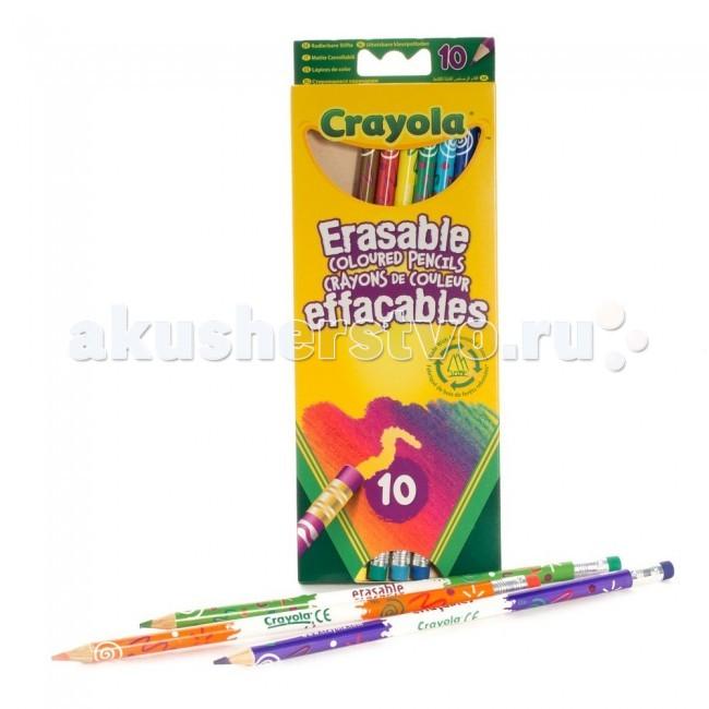 Crayola Набор из 10 цветных карандашей с корректорамиНабор из 10 цветных карандашей с корректорамиCrayola Набор из 10 цветных карандашей с корректорами - все 10 цветных карандашей их этого набора от Crayola оснащены ластиками. На конце каждого карандаша – стирательная резинка соответствующего цвета.   Часто при раскрашивании цветными карандашами малыши сталкиваются с тем, что практически невозможно удалить часть рисунка или подкорректировать его. В лучшем случае – остаются разводы, в худшем – портится бумага, появляются дырки. Но только не с этими карандашами! Благодаря специальной технологии ластики с карандашей идеально стирают все нарисованное соответствующим цветом, не оставляя грязи и разводов.  В наборе вы найдете карандаши 10 цветов. Корпус каждого из них покрыт разнообразными узорами. Один карандаш имеет 19 см в длину и 0,7 см – в диаметре. Все стержни карандашей – с диаметром 0,33 см.   Игрушка предназначена для детей старше 3 лет.<br>