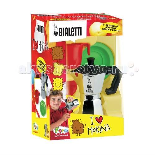 Faro Подарочный набор BialettiПодарочный набор BialettiFaro Подарочный набор Bialetti - подарочный набор с чайником и чашками от итальянской компании Faro — лидера рынка, специализирующегося на сюжетно-ролевых играх, станет отличным подарком как для мальчика, так и для девочки. Яркая упаковка с надписью «I love mokina!» содержит в себе все необходимое, чтобы малыш смог устроить чаепитие. Этот набор прекрасно дополнит детскую кухню, но может использоваться отдельно.   В комплект включен чайник, из которого удобно разливать по чашечкам чай или какао с молоком для своих гостей, чашки, тарелки и ложки.   Сделанный из прочных экологически чистых материалов, набор станет приятным подарком и принесет массу удовольствия во время игры!   Возраст: от 3 лет.<br>