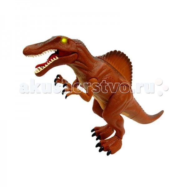 Интерактивная игрушка Dragon Спинозавр серия МегазаврыСпинозавр серия МегазаврыИнтерактивная игрушка Dragon Спинозавр серия Мегазавры - станет отличным подарком для каждого юного любителя животных. Игрушка, выполненная из качественных материалов, отлично передает строение динозавра, жившего на нашей планете миллионы лет назад.   Спинозавр способен передвигаться, двигать конечностями и открывать пасть. Кроме того он способен издавать различные звуки, присущие хищникам того времени. Управление осуществляется при помощи специального пульта управления. Радиус его действия – 3 метра. Во время игры глаза Спинозавтра горят.  Для работы понадобятся две батарейки АА. Батарейки входят в комплект.  Игрушка предназначена для одного игрока.  Рекомендуется для детей от 3 лет.<br>