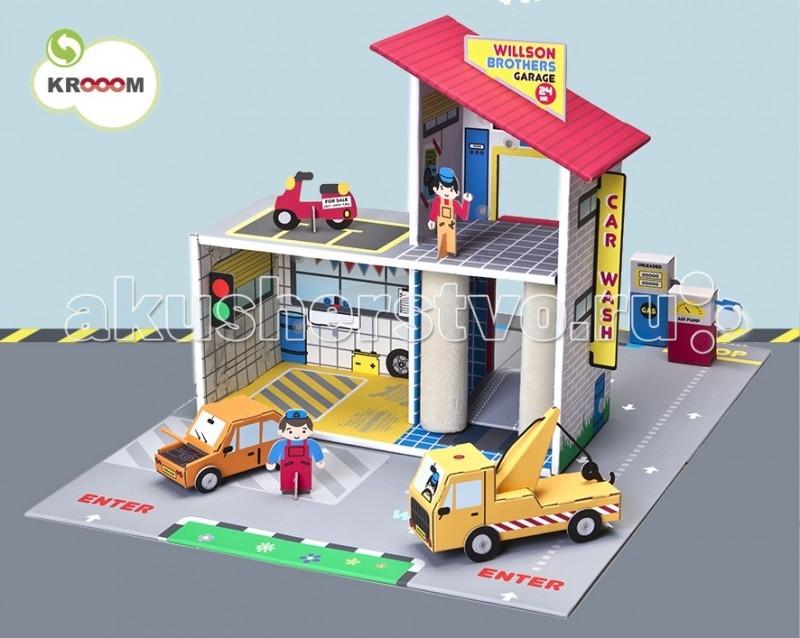 Krooom Детский гараж Уилсон БразерсДетский гараж Уилсон БразерсKrooom Детский гараж Уилсон Бразерс.  Эта сюжетно-ролевая игра не только увлекательна для ребенка, но и очень полезна и занимательна. Она дает представление об особенностях работы автосервиса. В комплект входит большое игровое поле, на которое нанесена дорожная разметка. Здание автосервиса двухэтажное и двухуровневое. На первом этаже находится автомойка и ремонтный бокс. На втором этаже располагается офис и открытая парковка. Попасть на второй этаж можно по пандусу. Здание полностью разрисовано как внутри, так и снаружи: серые кирпичные стены, крыша из красной черепицы, светофор, рекламные щиты, окна и витрина; интерьеры ремонтного бокса, мойки и офиса.   Отдельно установлены бензоколонка и пост подкачки шин. В игровой набор входит все, что показано на фотографии: эвакуатор с лебедкой, автомашина с открывающимся капотом, красный скутер, 2 механика.  Набор выполнен из высококачественного картона с глянцевыми, ламинированными поверхностями. Благодаря специальной пропитке картон обладает повышенной влагоустойчивостью. В производстве используются только экологически чистые материалы. Волшебство начинается с того, что полностью готовое изделие из плоского состояния собирается в объёмное без использования каких-либо инструментов.  Этот набор поможет малышу развить пространственное мышление, координацию и ловкость, мелкую моторику и цветовое восприятие. Придумывая новые сюжеты и примеряя на себя различные роли, ребенок адаптируется в социальном плане, учится общаться и вести тематические диалоги. Яркая и интересная детская игрушка Детский гараж Уилсон Бразерс стимулирует умение малыша фантазировать и формирует творческое мышление.  Описание и характеристики В игровой набор Детский гараж Уилсон Бразерс входит: Большое игровое поле размером 73 х 56 см. На поле нанесена дорожная разметка Здание двухэтажное. На первом этаже автомойка и ремонтный бокс. На втором - офис и открытая парковка Пандус, по которому можно з