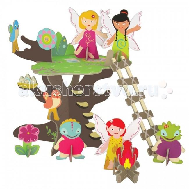 Krooom Игровой набор Волшебное дерево фейИгровой набор Волшебное дерево фейKrooom Игровой набор Волшебное дерево фей.  Фантазии маленьких девочек – это сказочный мир принцесс и волшебных фей, способных творить чудеса. Куклы в длинных воздушных платьях, замки с башнями, кареты, которые увозят на бал. Волшебство – вот, о чем мечтают маленькие красавицы. Чтобы исполнить свою мечту, родители часто ищут, где купить домик для фей, чтобы сделать игры для своей девочки еще ярче и увлекательнее.  Феям тоже необходимо отдыхать после трудного дня. Подняться на волшебное дерево можно по приставной лестнице. Кроме трех фей в комплект входят: 2 сказочных персонажа, 2 птички, а еще цветы. Рядом с деревом разложен костер. Набор выполнен из высококачественного картона с глянцевыми, ламинированными поверхностями. Благодаря специальной пропитке картон обладает повышенной влагоустойчивостью. В производстве используются только экологически чистые материалы.   Волшебство начинается с того, что полностью готовое изделие из плоского состояния собирается в объёмное без использования каких-либо инструментов. Этот набор поможет малышу развить пространственное мышление, координацию и ловкость, мелкую моторику и цветовое восприятие. Придумывая новые сюжеты и примеряя на себя различные роли, ребенок адаптируется в социальном плане, учится общаться и вести тематические диалоги. Яркая и интересная детская игрушка Волшебное дерево фей стимулирует умение малыша фантазировать и формирует творческое мышление.  Описание и характеристики В игровой набор Волшебное дерево фей входит: Красочное дерево, украшенное цветами Приставная лестница 3 феи, 2 сказочных персонажа, 2 птички, костер, цветы Удобная упаковка. Девиз этой серии игрушек: Легкость, но надёжность и сила. Набор изготовлен из прочного, высококачественного картона с глянцевой ламинированной поверхностью Очень прост в сборке. Даже человек без специальных навыков и инструментов легко с этим справится Запатентованные, понятные методы сборки Все эле