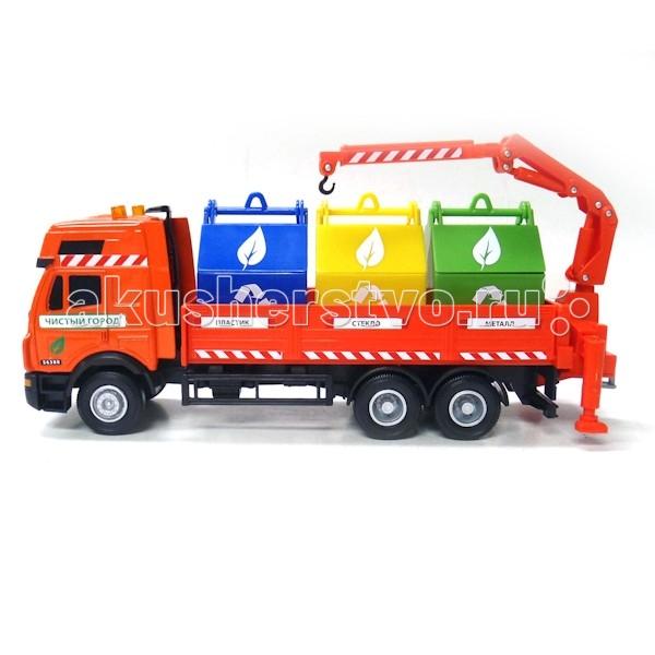 Технопарк Машина Мусоровоз SB290-071Машина Мусоровоз SB290-071Технопарк Машина Мусоровоз 1:40 - это коллекционная модель мусоровоза.  Особенности: В кузове машинки расположены четыре контейнера с надписями, которые соответствуют типу мусора, который туда необходимо складывать: пластик, стекло и металл.  На машинке имеется кран, нужный для перемещения контейнеров.  Этот автомобиль идеально подходит для сюжетных экологических игр; вы можете подготовить «мусор», а затем вместе с ребенком распределить его на виды и разместить в контейнеры. Таким образом, информация будет подана наглядно и, благодаря динамичной игре, мальчик хорошо ее запомнит. Сделан из металла и дополнен пластиковыми элементами.<br>