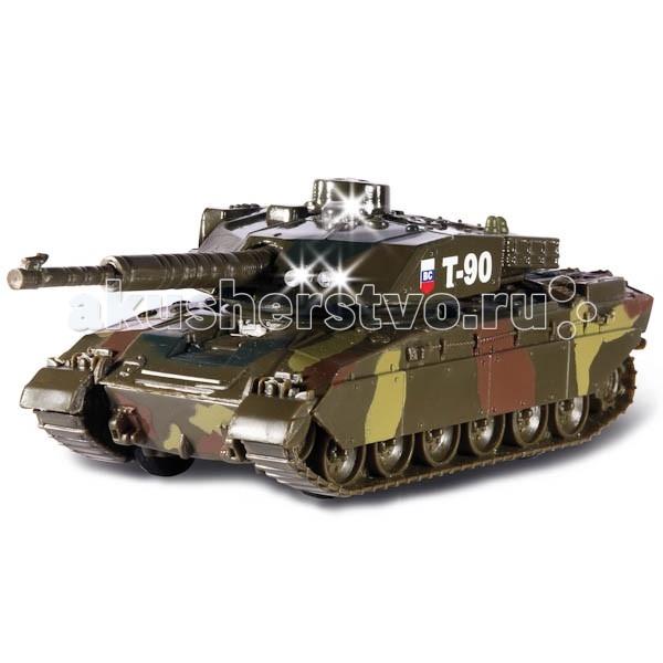 Технопарк Танк T-90 13 смТанк T-90 13 смТехнопарк Танк T-90 13 см обладает высокой реалистичностью за счет двигающихся элементов (башня вращается, дуло выдвигается), а также звуковых и световых эффектов.   Танк снабжен инерционным механизмом, что позволяет ему ускоряться вперед.   Настоящая радость для ребенка, особенно если он неравнодушен к технике.<br>