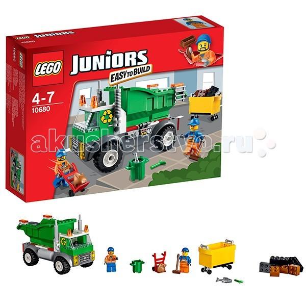 Конструктор Lego Juniors 10680 Лего Джуниорс МусоровозJuniors 10680 Лего Джуниорс МусоровозКонструктор Lego Juniors 10680 Лего Джуниорс Мусоровоз  Помоги рабочим из набора Juniors Garbage Truck сделать город чистым! Большой мусоровоз с мусорным контейнером очень прост в сборке. А это означает, что вы будете готовы к выезду совсем скоро.   Помоги рабочим собрать мусор в специальный контейнер, подними его на грузовик и опрокинь внутрь весь мусор.  Понятные инструкции позволяют детям быстро получить результат и приступить к игре.  В комплекте 2 минифигурки с аксессуарами:  2 рабочих-мусорщика.  Количество деталей: 99 шт.<br>