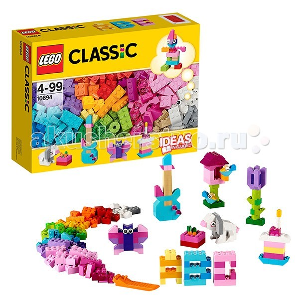 Конструктор Lego Classic 10694 Лего Классик Дополнение к набору для творчества Пастельные цветаClassic 10694 Лего Классик Дополнение к набору для творчества Пастельные цветаКонструктор Lego Classic 10694 Лего Классик Дополнение к набору для творчества Пастельные цвета  Включи фантазию и собери то, что придет в голову - от бабочек и цветов до гитар и тортов! Набор включает в себя кубики 20 пастельных цветов и различные элементы. Не знаете с чего начать? Воспользуйтесь инструкцией с идеями и рекомендациями дизайнеров. Этот набор идеально дополнит либо уже имеющийся набор LEGO.  Возможность собрать то, что придумал сам! 20 пастельных цветов деталей и различные элементы. Инструкции дизайнеров для оригинальных конструкций. Возможность дополнить любую имеющуюся коллекцию LEGO.  Количество деталей: 303 шт.<br>
