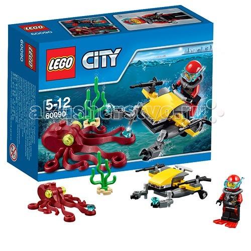 Конструктор Lego City 60090 Лего Город Глубоководный скутерCity 60090 Лего Город Глубоководный скутерКонструктор Lego City 60090 Лего Город Глубоководный скутер  Конструктор LEGO City собирается из 42 деталей и включает 1 минифигурку.  Небольшой подводный скутер оборудован подвижными механическими манипуляторами, которыми можно достать кристаллы со дна океана. Но не все так просто!   Драгоценные алмазы охраняет гигантский осьминог. Дайверу придется отогнать чудовище с помощью манипуляторов или подводных ружей, расположенных на корпусе скутера.  Количество деталей: 221 шт.<br>