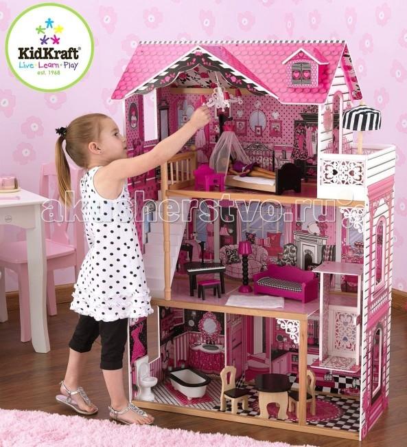 KidKraft Кукольный домик Амелия с мебелью 14 элементовКукольный домик Амелия с мебелью 14 элементовКукольный домик KidKraft Амелия, с мебелью 14 элементов.  Очень красивый, большой и полностью открытый кукольный домик Амелия для кукол высотой 30 см куклы Monster High, Winx, Barbie, Bratz. Домик выполнен в современном стиле, яркий, красочный и такой большой, что в него могут играть сразу несколько девочек. Четыре полноценных комнаты, балкон, красивая белая лестница и лифт. Яркий, красочный и очень стильный дизайн. Крыша с чердачным окном.Деревянный кукольный домик в подарочной упаковке. Самостоятельная сборка по инструкции.  В комплекте с домиком 14 предметов мебели для кукол.  14 красочных предметов мебели Дизайн домика в стиле кукол Monster High Школа монстров - современная классика Белая лестница Просторный балкон Лифт Большие окна, через которые видно все пространство домика Домик настолько большой, что в него могут играть одновременно несколько девочек Домик подходит для всех современных кукол высотой 30 см Домик сделан из дерева. Упакован в картонную коробку с подробными инструкциями по сборке.<br>