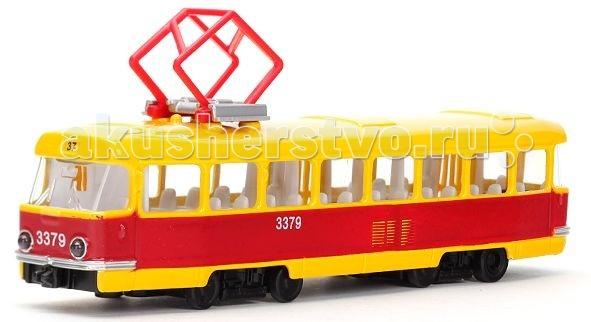 Технопарк Трамвай CT12-463-2Трамвай CT12-463-2Технопарк Трамвай 1:43, который можно увидеть на улицах многих городов, представлен в виде миниатюрной модели в масштабе 1:43.   Особенности: Трамвай имеет подвижные колесики и умеет ездить вперед — достаточно потянуть его на себя и отпустить.  Двери открываются и закрываются<br>