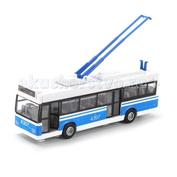 Технопарк Троллейбус CT12-434-1-2Троллейбус CT12-434-1-2Технопарк Троллейбус, который можно увидеть на улицах многих городов, представлен в виде миниатюрной модели.   Особенности: У него открываются двери и поднимается штанговый токоприемник.  Внутри также всё детально приближено к оригиналу.  При движении он издает звуки, и у него горят фары. У троллейбуса металлический корпус, так что он прослужит долго.  Троллейбус инерционный. Потяните его назад, слегка нажимая на крышку, и отпустите, он сам проедет небольшое расстояние.  С такой игрушкой ваш ребенок с удовольствием будет придумывать различные сюжеты, тем самым развивая воображение. А также моторику рук и артистические навыки. Троллейбус приведет в восторг как юного коллекционера, так и простого любителя реалистичных машин!  Цвета в ассортименте<br>