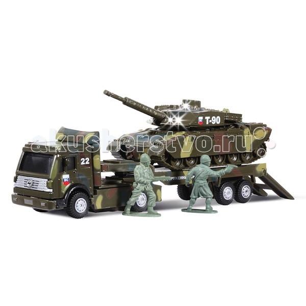 Технопарк Трейлер Вооруженные силы с танкомТрейлер Вооруженные силы с танкомТехнопарк Трейлер Вооруженные силы с танком обладает высокой реалистичностью за счет звуковых и световых эффектов.   Машина снабжена инерционным механизмом, что позволяет ей ускоряться вперед. Настоящая радость для ребенка, особенно если он неравнодушен к технике.  К модели трейлера прилагаются танк и фигурки солдатов.<br>
