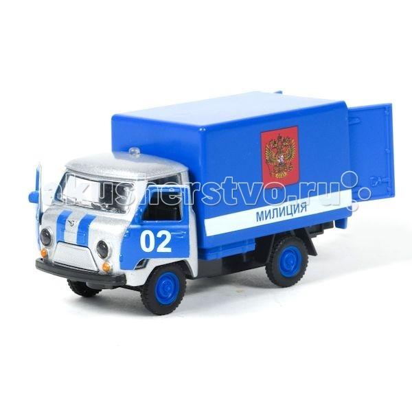 Технопарк Машина УАЗ-3303  Милиция/ПолицияМашина УАЗ-3303  Милиция/ПолицияТехнопарк Машинка УАЗ-3303 Милиция/Полиция 1:43 представляет собой уменьшенную копию реального автомобиля, который используется в российской полиции.   Особенности: Модель оборудована световым и звуковым модулями. Это позволяет ей светить фарами и имитировать звуки реального авто.  Игрушка оборудована открывающимися дверями.  Инерционный механизм обеспечивает движение машинки в переднем направлении. Чтобы его запустить, нужно откатить игрушку немного назад, а потом отпустить.<br>