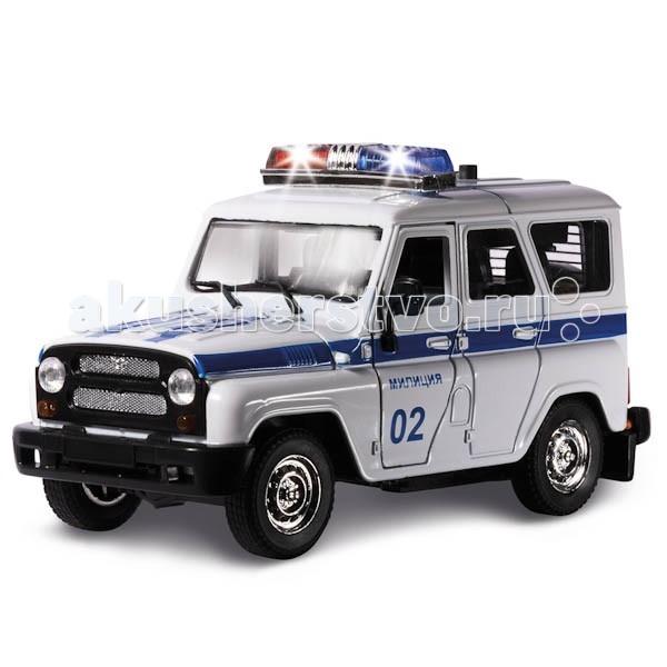 Технопарк Машина УАЗ Hunter ПолицияМашина УАЗ Hunter ПолицияТехнопарк Машинка УАЗ Hunter Полиция — мощный автомобиль повышенной проходимости, созданный для эксплуатации на дорогах всех категорий и пересеченной местности.   Особенности: Игровой внедорожник — реалистичная копия оригинала, выполненная в масштабе 1:43.  Машина оснащена инерционным механизмом. Слегка потяните ее на себя и отпустите — машина уедет вперед на большой скорости!  Нажмите на крышу машины — раздастся реалистичный звук сирены и загорится мигалка!  Корпус автомобиля изготовлен из металла с особым вниманием к мелочам. Покрышки сделаны из настоящей резины.  Боковые и задние двери и капот открываются.  Игровая модель порадует и ребенка, и взрослого, занимающегося коллекционированием.<br>