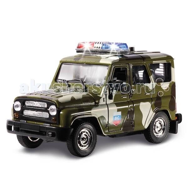 Технопарк Машина УАЗ Hunter ВоеннаяМашина УАЗ Hunter ВоеннаяТехнопарк Машинка УАЗ Hunter Военная — мощный автомобиль повышенной проходимости, созданный для эксплуатации на дорогах всех категорий и пересеченной местности.   Особенности: Игровой внедорожник — реалистичная копия оригинала, выполненная в масштабе 1:43.  Машина оснащена инерционным механизмом. Слегка потяните ее на себя и отпустите — машина уедет вперед на большой скорости!  Нажмите на крышу машины — раздастся реалистичный звук сирены и загорится мигалка!  Корпус автомобиля изготовлен из металла с особым вниманием к мелочам. Покрышки сделаны из настоящей резины.  Боковые и задние двери и капот открываются.  Игровая модель порадует и ребенка, и взрослого, занимающегося коллекционированием.<br>