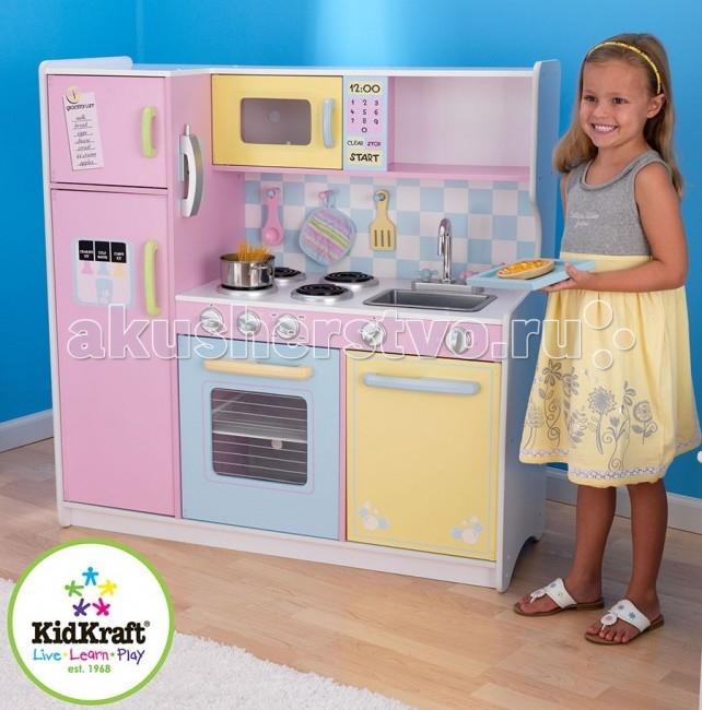 KidKraft Игрушечная кухня ПастельИгрушечная кухня ПастельKidKraft Игрушечная кухня Пастель.  Большая и очень нежная игровая кухня для девочки. Кухня состоит из холодильника, плиты и мойки. Все дверки открываются и закрываются. В плите и микроволновой печи дверки с прозрачным окном. В мойке раковина съемная. На боковой стороне холодильника есть часы и можно изучать время, с обратной стороны игрушечный телефон.  Посуду и еду можно разместить внутри шкафчиков на открытых и закрытых полках. Размер кухни - 109 см в ширину и 109 см в высоту.Кухня сделана из МДФ и пластика. Все детали упакованы в большую красочную коробку с подробной инструкцией для сборки. Официальная гарантия от поставщика! Остерегайтесь подделок и нелегальных поставок!<br>