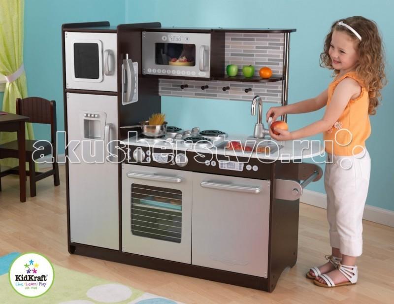 KidKraft Игрушечная кухня ЭспрессоИгрушечная кухня ЭспрессоKidKraft Игрушечная кухня Эспрессо.  C такой современной и модной кухней юный поваренок почувствует себя настоящим шеф-поваром. В кухне есть все самое необходимое, чтобы приготовить игрушечный завтрак или обед, а также пригласить друзей на званный ужин. холодильник с морозильной камерой кнопочный телефон духовой шкаф и микроволновая печь посудомоечная машина держатель для полотенец съемная мойка для быстрого слива воды место для хранения посуды крючки для кухонной утвари на холодильники можно делать записи мелом вкусных рецептов.  Кухня большая для целый команды поварят!Размер кухни - 109 см в ширину и 104 см в высоту. Глубина - 45 см.Кухня сделана из МДФ и пластика. Все детали упакованы в большую красочную коробку с подробной инструкцией для сборки. Официальная гарантия от поставщика! Остерегайтесь подделок и нелегальных поставок!<br>