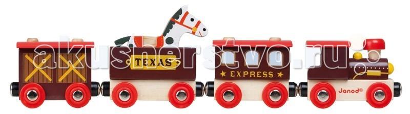Janod Поезд ТехасПоезд ТехасJanod Поезд Техас.  Поезд на магнитиках Техас, производства французской компании Janod, предназначен для детей старше 3 лет. Железная дорога и паровозики с вагончиками были и остаются одними из самых популярных игрушек. Изготовленные из натурального дерева, паровоз и вагоны, перевозят пассажиров, грузы и животных. Паровоз и 3 вагончика сцепляются друг с другом при помощи магнитов. Общая длина состава - 32,5 см, а высота самого большого вагона 8,5 см.  Паровозик упакован в красивую подарочную коробку с прозрачным окошком. деревянный паровоз 2 закрытых деревянных вагончика  1 открытый вагон для перевозки животных деревянная фигурка лошади подарочная коробка.<br>