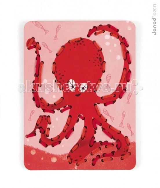 Развивающая игрушка Janod Шнуровка Животные 6 карт + 13 нитейШнуровка Животные 6 карт + 13 нитейJanod Шнуровка Животные, 6 карт + 13 нитей.  В большой набор входят 6 разноцветных и веселых карточек из картона с изображениями животных - кит, осьминог, еж, лиса, сова, пеликан, а также 13 цветных шнурков.На каждую карточку нанесена перфорация по контуру рисунка. В процессе игры, ребенок продевает шнурок через эти отверстия, обозначая силуэт животного. В процессе игры вы сможете помочь ребенку освоить основные цвета, виды животных. Продемонстрируйте ребенку большие карточки и предложите самостоятельно подобрать цвет шнурка.  Все элементы окрашены естественными цветами и специальными красками, которые безопасны для детей.Игрушка упакована в красивую подарочную коробку. Игра Шнуровка Животные: 13 разноцветных шнурков 6 картонных карточек с изображением животных и перфорацией плотный высококачественный картон отличная полиграфия красивая подарочная упаковка.<br>
