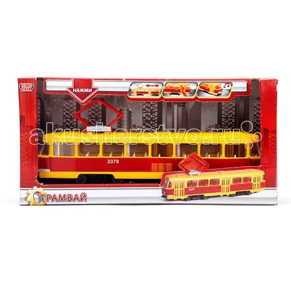 Технопарк Трамвай CT12-428-2Трамвай CT12-428-2Технопарк Трамвай великолепно детализирован, окрашен в жёлтый и красный цвета.  Особенности: Трамвай имеет три открывающиеся дверцы.  При нажатии на корпус раздаётся звук звонка трамвая и голос вагоновожатого: «Осторожно, двери закрываются. Следующая остановка ул. Парковая» и «Уступайте места пассажирам с детьми, бабушкам и дедушкам».  У трамвая загораются передние фары.  Игрушка инерционная.<br>