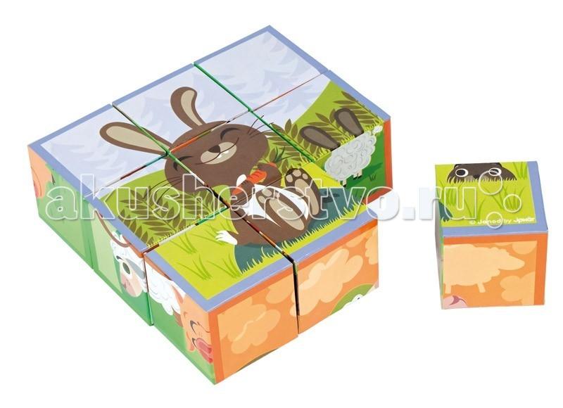 Развивающая игрушка Janod Кубики Домашние животные 9 элементовКубики Домашние животные 9 элементовJanod Кубики Домашние животные, 9 эл.  Кубики Домашние животные, 9 шт., производства французской компании Janod, предназначены для детей от 1,5 лет.Обратите свое внимание на замечательные кубики. Они сделаны из очень плотного картона с отличной полиграфией. Эксклюзивный французский дизайн.В наборе 9 кубиков, размер 1 кубика 5 x 5 x 5см. Из них можно сложить 6 картинок.  На картинках изображены домашние животные: симпатичная пятнистая корова очарована бабочками; серый кролик предвкушает удовольствие от сладкой морковки, а его приятель следит за ним из высокой травы; хрюшка добралась до лужи с грязью, две овечки пасутся на лугу, а по небу плывет облачко в виде овечки; важная курочка с гордостью везет в тележке своего сыночка — желтенького цыпленка; на последней картинке все зверюшки собрались вместе.  Играя, вы можете повторять с ребенком основные цвета, животных фермы, считать и придумывать веселые истории.Эти кубики станут хорошим подарком для любого ребенка старше 18 месяцев. Они сделаны из очень плотного картона с отличной полиграфией и интересными сюжетами. Набор детских кубиков упакован в красивую коробочку с магнитным замочком, прозрачным окошком и переносной ручкой.  Описание товара: 9 кубиков, каждый размером 5х5 см можно сложить 6 красочных картинок с животными фермы плотный картон и отличная полиграфия оригинальный французский дизайн расивая подарочная упаковка с магнитным замочком, прозрачным окошком и переносной ручкой.<br>