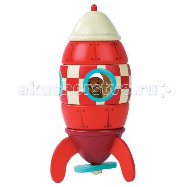 Конструктор Janod магнитный Ракетамагнитный РакетаJanod Конструктор магнитный Ракета.  Перед вами яркая и функциональная игрушка, выполненная из дерева. Высота ракеты в сборе 16 см, диаметр 6,5 см. Все части ракеты соединяются друг с другом при помощи магнитов. Основание ракеты фиолетового цвета с тремя красными ножками, которые обеспечивают устойчивость и голубым вращающимся пропеллером. Два элемента, на которые нанесен рисунок, имитирующий обшивку корабля с заклепками. Между ними кабина ракеты с иллюминаторами, обведенными голубым цветом. Кабина, в красно-белую шашечку. Внутри ракеты фигурка космонавта. Верхушка ракеты белого цвета.  Производитель, французская компания Janod, позаботился о том, что бы сделать эту игрушку максимально привлекательной и безопасной для детей. Яркие цвета, оригинальный французский дизайн, гладкие, приятные на ощупь поверхности. Набор упакован в подарочную коробку.  Описание товара: ракета-конструктор из деревянных элементов. все элементы соединяются друг с другом при помощи магнитов размер собранной игрушки 6,5х6,5х16 см гладкие, приятные на ощупь поверхности оригинальный французский дизайн набор предназначен для детей от 1,5 лет красивая подарочная коробка.<br>