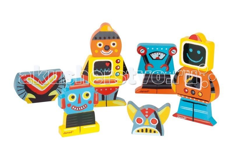 Деревянная игрушка Janod Фигурки магнитные Забавные роботы