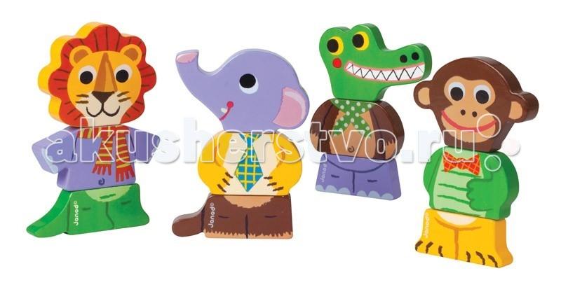 Деревянная игрушка Janod Фигурки магнитные Дикие животныеФигурки магнитные Дикие животныеJanod Фигурки магнитные Дикие животные.  Этот набор из серии магнитных фигурок можно использовать в большом количестве сюжетных игр.Каждая фигурка состоит из трех частей, которые соединяются между собой при помощи магнитов. Благодаря тому, что составные части достаточно крупные, ребенку будет не трудно брать их в ручки и игра ему долго не надоест. Поменяв элементы местами, вы получите новых забавных животных. Сочиняя про них истории и сказки, вы сделаете ваши игры с ребенком не только очень увлекательными и веселыми, но и познавательными.  Играя, вы сможете повторить основные цвета: красный, желтый, оранжевый, фиолетовый, синий, голубой, зеленый, салатовый, коричневый, бежевый, черный, белый. Основных животных, обитающих в зоопарке: лев, слон, крокодил, обезьяна. В игровой форме начать осваивать счет — считать можно уже существующих животных, а так же и тех, которые будут рождаться в процессе игры.Каждый из наборов этой серии магнитных фигурок станет замечательным подарком для любого малыша от 18 месяцев. Яркие цвета, оригинальный французский дизайн, приятные на ощупь поверхности. Наборы упакованы в красивую подарочную коробку с удобной ручкой для переноски.  Описание товара: размер игрушки 8,2х1,5х15 см. приятные на ощупь поверхности оригинальный французский дизайн набор предназначен для детей от 1,5 лет красивая подарочная коробка с удобной переносной ручкой.<br>