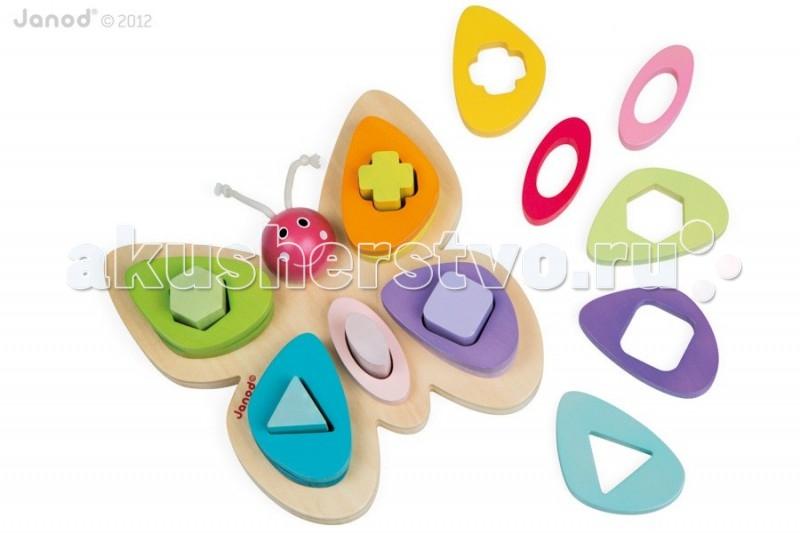 Сортер Janod Пирамидка БабочкаПирамидка БабочкаJanod Сортер-пирамидка Бабочка.  Эта игрушка многофункциональна. Играя, ребенок повторяет основные цвета и геометрические формы, учится обобщать, считать и сортировать.  Сортер в виде бабочки - это гениальная идея для малышей от 18 месяцев. Четыре разноцветных крыла и сердцевина имеют 5 стержней разной формы: треугольник, квадрат, ромб, крест и овал. Используются основные цвета и оттенки: зеленый, желтый, сиреневый, розовый, голубой. Задача ребенка научиться сортировать элементы игрушки по цветам и форме, а улыбающаяся мордочка бабочки станет настоящим другом и помощником в обучении через игру.  Французский производитель Janod позаботился о том, что бы сделать эту игрушку максимально привлекательной и безопасной для малышей. Игрушка выполнена из дерева и окрашена безвредными красками на водной основе. Самые натуральные и безопасные игрушки для малышей и детей постарше премиум-класса.  Все игрушки и игровые наборы сделаны из натуральной древесины или картона. Безопасные для контакта с ребенком краски на водной основе. Игрушки выставляют на международных выставках под маркой green toys зеленые игрушки, т.е. экологически безопасные Изысканный французский дизайн Превосходное качество - необыкновенно гладкая и приятная поверхность Нежное и красивое сочетание цветов Эксклюзивная подарочная упаковка.<br>