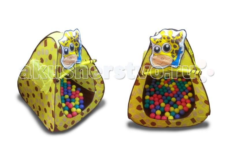 BabyOne Ching-Ching Дом + 100 шаров ЖирафChing-Ching Дом + 100 шаров ЖирафChing-Ching Дом + 100 шаров Жираф Красочные и интересные игровые домики для детей — это лучшее решение родителей, чтобы ребенок мог активно играть с пользой для здоровья!   Домики очень компактные, легкие и их легко брать с собой, например, на дачу или на природу.   В комплекте 100 разноцветных шариков, играя которыми, малыши развивают ловкость и моторику рук.   Палатка имеет окошки из сетки. Специальная дверка закрепляется на липучках. Достаточно высокий порог не позволит выкатываться шарикам.  Размеры: 100&#215;100&#215;100 см<br>