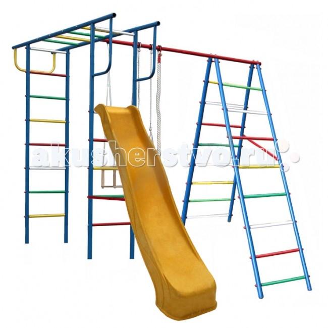 Вертикаль А+П Детский спортивный комплекс с горкойА+П Детский спортивный комплекс с горкойЕсли вы хотите быть спокойны за своих деток, уделяете внимание их физическому развитию, то приобретая им на радость детский спортивный комплекс для улицы и дачи, вы тем самым делаете инвестиции в их здоровье. Установленный в вашем дворе или на даче детский спортивный комплекс , сочетающий в себе элементы игры и спорта, станет излюбленным местом для весёлых игр и соревнований детворы. Играя в своё удовольствие на свежем воздухе, дети развиваются физически.   Изготавливаются детские уличные спортивные комплексы из экологичных материалов, при их производстве используется нержавеющая сталь, они устойчивы к атмосферным осадкам и перепадам температуры и рассчитаны на длительную эксплуатацию. Все модели детских спортивных комплексов для улицы и дачи сертифицированы и безопасны.   Шикарный дачный спортивный комплекс, оснащенный кольцами, канатами, качелями и горкой. Такой комплекс развлечет Ваших детей и позволит всегда оставаться в отличной спортивной форме.  Крепление: цементируются «стаканы», в которые устанавливаются стойки ДСК Высота дачного комплекса: 2.20 м Занимаемая площадь: 2.30 х 2.40 м Допустимая нагрузка: 90 кг Комплектация дачного комплекса: канат, кольца, качели, горка 3м<br>