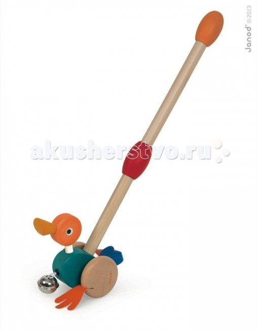 Каталка-игрушка Janod с ручкой Уточка с колокольчиком