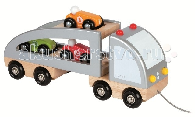 Каталка-игрушка Janod Грузовик с машинкамиГрузовик с машинкамиJanod Каталка Грузовик с машинками.  Красивая, надежная и многофункциональная деревянная игрушка-автовоз, предназначена для детей от 18 месяцев. У машинки два соединяющихся элемента: кабина и длинная двух ярусная платформа. Обе части снабжены двумя парами черных колес — как у настоящего автомобиля. В двух ярусный прицеп загружены три маленькие разноцветные машинки: красная, зеленая и оранжевая. При желании, прицеп отсоединяется от кузова. Каталка Грузовик с машинками для любого мальчишки старше 1,5 лет. Яркие цвета, оригинальный французский дизайн, гладкие, приятные на ощупь поверхности.  Описание товара: все элементы набора выполнены из дерева. размер самой большой фигурки 30х9х12,5 см гладкие, приятные на ощупь поверхности оригинальный французский дизайн набор предназначен для детей от 1,5 лет<br>