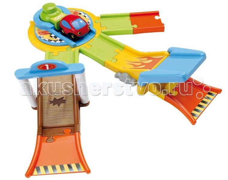 Smoby Спусковая установкаСпусковая установкаРазвивающая игрушка Smoby Спусковая установка - это метатель с тремя выборами возможных каскадов. Он выполнен из яркого пластика оранжевого, голубого, салатового и жёлтого цветов, детали легко соединяются друг с другом.    Особенности:    Машинка имеет характерную для серии VROOM PLANET округлую форму.   В конструкции множество горочек и других разнообразных препятствий - настоящий трамплин, распашные ворота.   Для быстрого старта машинки предусмотрен пусковой механизм: ребёнок ставит машинку, резко нажимает на большую кнопку - и поршень толкает машинку, которая очень резво взлетает на горочку и катится дальше.   Сюжетно-ролевая игра развивает детскую фантазию и воображение.   В процессе игры вырабатывается ловкость и слаженность движений рук, сноровка и координация.<br>