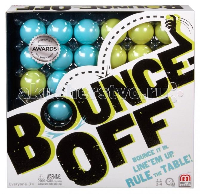 Mattel Настольная игра Bounce OffНастольная игра Bounce OffMattel Настольная игра Bounce Off покажет, кто из вашей компании самый быстрый, ловкий и сообразительный! В набор входит игровое поле с отверстиями для шариков, сами шарики двух цветов, подставки для шариков и карточки с узорами. В начале игры каждый игрок выбирает карту с узором, а затем пытается заполнить решетку так, как показано на карточке.  Эта игра отлично подойдет для веселых вечеринок, пикников и любых встреч с друзьями.  В комплекте: 16 шариков 4 поддона для шариков игровой поддон 9 карточек с узорами инструкция<br>