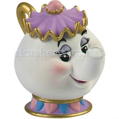 Bullyland Чайник Миссис Заварка 6 смЧайник Миссис Заварка 6 смBullyland Миссис Заварка 6 см. - фигурка Миссис Заварки из мультфильма Уолта Диснея Красавица и чудовище. Домоправительница замка, миссис Поттс, была заколдована вместе с принцем и превращена в заварочный чайник, а ее дети – в чашки. Фигурка заварочного чайника очень милая и обаятельная. У нее добрые глаза и замечательная улыбка. Чай Миссис Заварки потрясающе вкусный и бодрящий.   Замечательная фигурка, добрый, положительный персонаж. Игрушка может быть использована детьми в качестве героя в придуманных играх.   Фигурка выполнена из высококачественных нетоксичных материалов, безопасна для детей.   Размер: 6 см.<br>