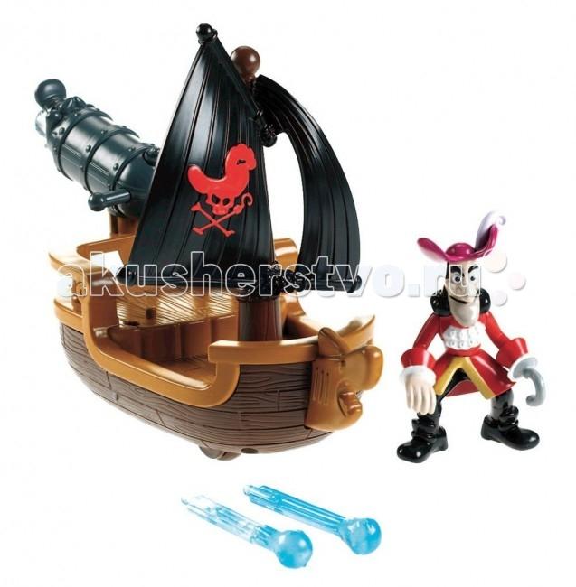Fisher Price Mattel Игровой набор Джейк и пираты Нетландии Лодка для пиратских сраженийMattel Игровой набор Джейк и пираты Нетландии Лодка для пиратских сраженийFisher Price Mattel Игровой набор Джейк и пираты Нетландии Лодка для пиратских сражений   Особенности: На лодке установлена пушка, стреляющая водяными снарядами (в наборе их 2 штуки).  Есть фигурка капитана.  Лодка на колесиках, так что ребенок сможет катать ее, представляя, как лодка движется по волнам.  Игрушка детализирована, на лодке детально проработана структура древесины. Лодка не обошлась без большого черного пиратского паруса.  Пушка может поворачиваться. Ее жерло выполнено в форме головы крокодила.<br>