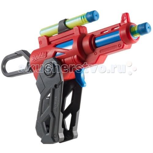 Boomco Бластер Двойной ударБластер Двойной ударBoomco Бластер Двойной удар - идеальное оружие для игры в войнушку!   Особенности: Легкий и компактный, он способен стрелять мягкими стрелками на расстояние до 18 метров!  В бластер можно загрузить одну «стрелу» из барабана, а другую – сверху. Благодаря удобной складной рукояти, бластер Clipfire не только очень удобное оружие, но и компактное, а используя специальный карабин, бластер можно закрепить на рюкзаке или ремню брюк вашего маленького стрелка.  Бластер умеет одновременно стрелять двумя стрелами, что станет неожиданностью для противника.  Игрушка создана из яркого, качественного и безопасного пластика высокой прочности.  В комплекте: бластер 2 стрелы мишень диаметром 10 см<br>