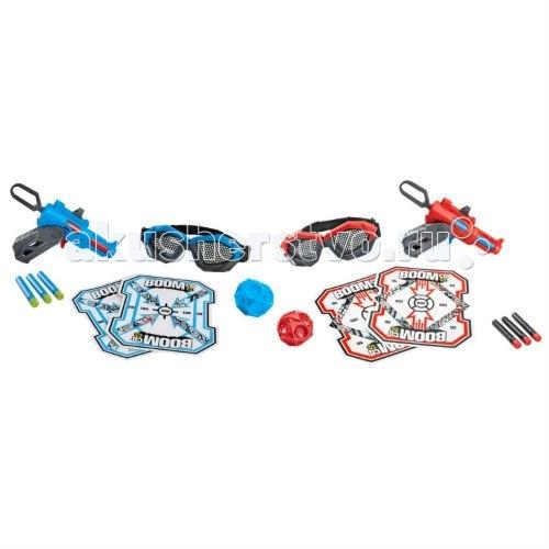 Boomco Игровой набор ПоединокИгровой набор ПоединокBoomco Игровой набор Поединок поможет узнать кто же самый меткий из вас.  Особенности: В качестве оружия в наборе два бластера Двойной удар, спутать которые не получится, ведь бластеры отличаются друг от друга по цвету: один красный с синими деталями, а второй синий с красными. Одевайте удобные защитные очки, заряжайте липнущие к мишени стрелки в обоймы бластеров, берите их в руки и начинайте веселую игру со своими друзьями!  Надоело стрелять в мишень, устройте настоящее сражение, а чтобы оно было еще интереснее, можно пополнить запас стрел и обойм, докупив нужное вам количество.  В комплекте: 2 бластера 6 стрел 2 обоймы 2 мишени 2 пары защитных очков<br>