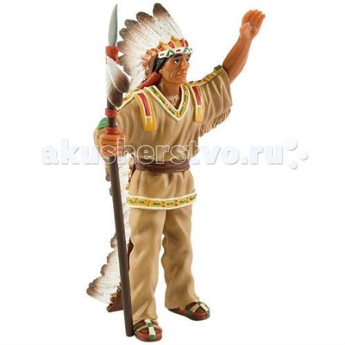 Bullyland Фигурка Вождь индейцев 9,5 смФигурка Вождь индейцев 9,5 смBullyland Фигурка Вождь индейцев 9,5 см. - фигурка Вождь индейцев из серии Вестерн.   Настоящий вождь - гордый и могущественный. Фигурка отображает величественность и уверенность вождя, наделенного атрибутами власти. Костюм и посох индейца подчеркивают высокое положение вождя.   Игрушка выполнена из высококачественных, нетоксичных материалов и абсолютно безопасна для детей.   Размер: 64 х 50 х 108 мм.<br>