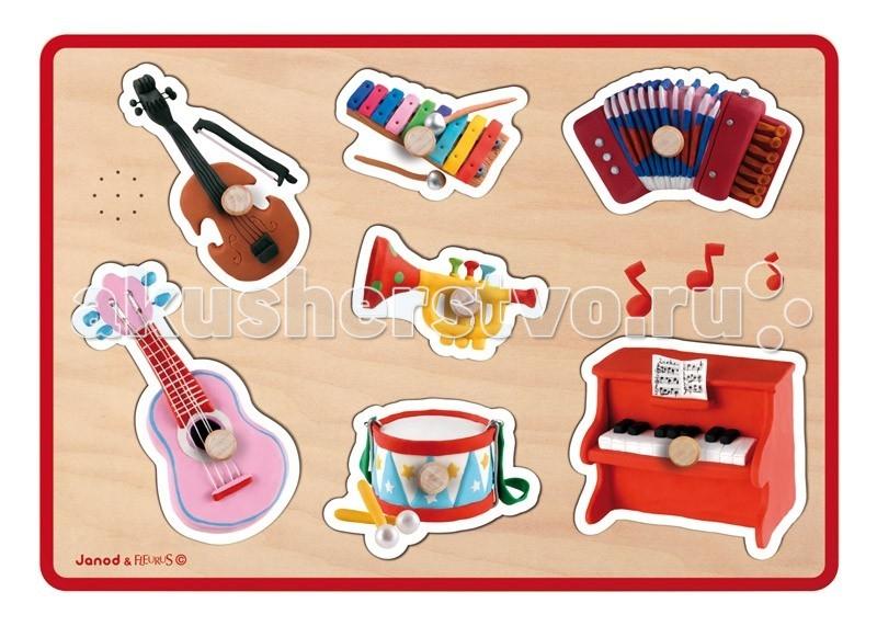 Janod Пазл музыкальный Флейрус музыкальные инструментыПазл музыкальный Флейрус музыкальные инструментыJanod Пазл музыкальный Флейрус музыкальные инструменты.  Все элементы представленного пазла, выполнены из дерева. Размер рамки-основания 30х21х2,5 см. В комплект входит 7 фигурных предметов-вкладышей на тему Музыкальные инструменты с удобными ручками на лицевой стороне. Если вынуть вкладыш, то раздается характерный для данного предмета звук. Эта функция обеспечивается при помощи двух LR03 пальчиковых батареек.Отличием этого пазла является то, что на рамке-основании не изображены сами предметы, а значит ребенку приходится ориентироваться только на контуры. Зато вкладыши очень хорошо прорисованы, насыщенные цвета, привлекательный дизайн. Это распространенные музыкальные инструменты: скрипка, металлофон, аккордеон, труба, гитара, барабан, пианино.  Задача ребенка поставить каждый вкладыш на свое место. Их будет удобно брать даже самым маленьким деткам, благодаря специальным ручкам цвета натурального дерева.Все элементы разного цвета, играя, ребенок повторяет основные цвета. А еще основные музыкальные инструменты. Звуковое сопровождение сделает процесс обучения радостным и увлекательным.Вы можете вместе с ребенком обсудить как используются представленные инструменты и использовать их в своих рисунках. Для этого приложите вкладыш к листу бумаги и обведите, а потом раскрасьте. Музыкальный пазл порадует любого малыша старше 18 месяцев.  В набор входит: яркое и красочное основание размером 30х21х2,5 см распространенные музыкальные инструменты: скрипка, металлофон, аккордеон, труба, гитара, барабан, пианино у каждого элемента удобная ручка все элементы набора деревянные игрушка предназначена для детей старше 18 месяцев. Все игрушки и игровые наборы сделаны из натуральной древесины или картона Безопасные для контакта с ребенком краски Игрушки выставляют на международных выставках под маркой green toys зеленые игрушки, т.е. экологически безопасные Изысканный французский дизайн
