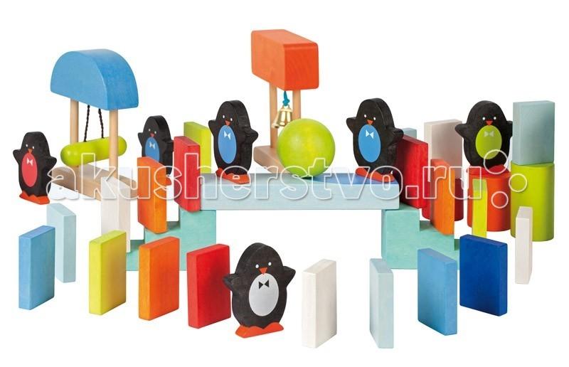 Конструктор Janod Домино с пингвинчиками 100 элементовДомино с пингвинчиками 100 элементовJanod Конструктор Домино с пингвинчиками 100 эл.  Яркие, разноцветные и разные по форме детали - 100 штук, из которых можно выстроить целую цепочку для демонстрации принципа домино. Принцип домино — это когда все элементы располагаются друг рядом с другом на небольшом расстоянии и если подтолкнуть первый из цепочки, то это вызовет последовательное падение всех остальных. В цепочке участвуют фигурки пингвинчиков, с разноцветными животиками; цилиндры, сферы, таран и колокольчик, подвешенные на веревочках, мельница. все элементы набора выполнены из дерева и окрашены безопасными для детей водорастворимыми красками.  Играя вы повторяете с ребенком основные цвета и оттенки: красный, желтый, оранжевый, черный, белый, синий, голубой, сиреневый, и геометрические фигуры и формы: куб, цилиндр, конус, сфера, призма, пирамида, треугольник, квадрат, круг Для сравнения, размер пингвинчика — 5,5 см x 1 см x 6 см.Набор упакован в подарочную коробку с переносной веревочной ручкой.  Описание товара: разноцветные и разные по форме деревянные детали размер фигурки пингвинчика 5,5 см x 1 см x 6 см приятные, натуральные цвета все элементы окрашены безопасными для детей водорастворимыми красками оригинальный французский дизайн набор предназначен для детей от 1,5 лет красивая подарочная коробка с переносной веревочной ручкой.<br>