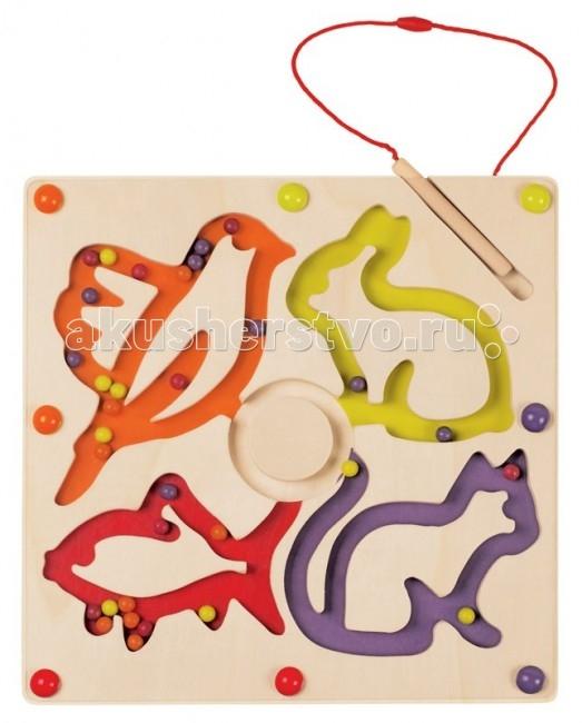 Janod Игра магнитная ШарикиИгра магнитная ШарикиJanod Игра магнитная Шарики.  Магнитная игра с шариками. Цветные шарики необходимо передвинуть по лабиринту магнитным карандашом таким образом, чтобы каждый цветной шарик оказался в лабиринте цветного животного, совпадающего с шариком по цвету.Деревянное основание размером 29,5 на 29,5 см. Деревянный магнитный карандаш прикреплен на веревочке к основе. Цветные шарики внутри лабиринта. Сверху игра закрыта прозрачной крышкой без возможности вскрытия.<br>