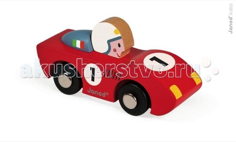 Деревянная игрушка Janod Игрушка Машинка гоночнаяИгрушка Машинка гоночнаяJanod Игрушка Машинка гоночная.  Яркая и практичная машинка, изготовлена из дерева. Её размер 9,2х3,3х4,8 см. У нас представлены машинки двух цветов — красная и синяя. У игрушки черные колеса с металлическими дисками, как у настоящей машинки. На боках и переднем капоте нарисован черный номер на белом фоне. У красной машинки — номер 1 и итальянский флаг, а у синей — номер 2 и французский флаг. Так же нарисованы желтые фары и декоративная решетка крыла.  Подарите этот подарок любому мальчишке и он не станет лишним в его гараже. Её можно взять с собой на дачу, на улицу, в поездку. И кроме того, игрушка упакована в красивую подарочную коробку с пластиковым окошком.  Описание товара: деревянная машинка, размером 9,2х3,3х4,8 см два цвета на выбор - красный и синий оригинальный французский дизайн красивая подарочная упаковка с прозрачным окошком.<br>