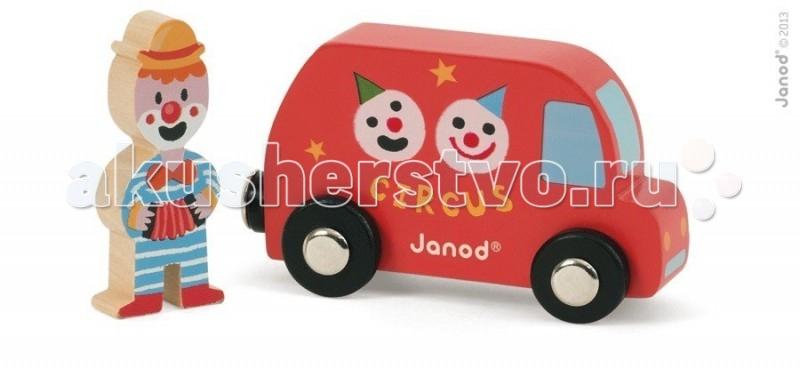 Деревянная игрушка Janod Набор Фургон цирк с клоуномНабор Фургон цирк с клоуномJanod Набор Фургон цирк с клоуном.  Яркая и практичная машинка, изготовлена из дерева. Её размер 8,8х3,5х5 см. В комплект входит фигурка клоуна размером 2,4х1х5,7 см.У фургончика черные колеса с металлическими дисками, как у настоящей машинки. На боках нарисованы смешные клоунские физиономии и написано - цирк. Сзади у машинки есть магнит, при помощи которого к ней можно присоединять прицеп.   Благодаря этому её можно использовать в игре с другими машинками и поездами компании Janod, которые оснащены такими же магнитами. Веселый клоун в полосатом костюме весело играет на гармошке.Вручите этот набор любому мальчишке и он не станет лишним в его гараже. Его можно взять с собой на дачу, на улицу, в поездку. И кроме того, игрушка упакована в красивую подарочную коробку с пластиковым окошком.  Описание товара: деревянная машинка-фургон с магнитом, размером 8,8х3,5х5 см фигурка клоуна размером 2,4х1х5,7 см оригинальный французский дизайн красивая подарочная упаковка с прозрачным окошком.<br>
