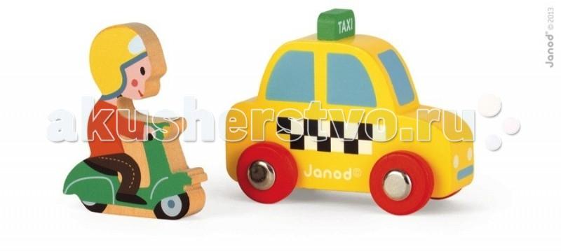 Деревянная игрушка Janod Набор Желтое такси с гонщикомНабор Желтое такси с гонщикомJanod Набор Желтое такси с гонщиком.  Все элементы, представленного набора, деревянные. Яркая и практичная машинка размером 7,5х3,5х5,2 см. Фигурка скутериста на скутере размером 4,5х1х5,7 см. Такси стилизовано под настоящее: желтая машинка с черно-белыми шашечками на боку, на крыше зеленая табло с надписью taxi, красные колеса с металлическими дисками. Человек, который управляет зеленым скутером, одет в красную майку, коричневые брюки и желтый шлем. Колеса у скутера не крутятся.  Подарите этотнабор любому мальчишке и он не станет лишним в его гараже. Его можно взять с собой на дачу, на улицу, в поездку. И кроме того, игрушка упакована в красивую подарочную коробку с пластиковым окошком.  Описание товара: деревянная машинка размером 7,5х3,5х5,2 см. фигурка скутериста на скутере размером 4,5х1х5,7 см. оригинальный французский дизайн красивая подарочная упаковка с прозрачным окошком.<br>