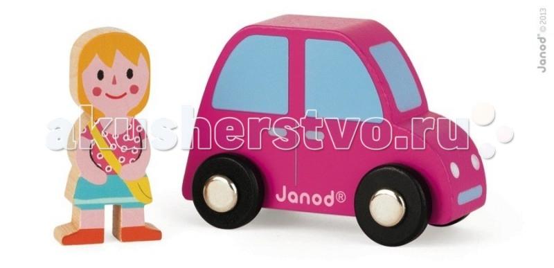 Деревянная игрушка Janod Набор Розовая машинка с девочкойНабор Розовая машинка с девочкойJanod Набор Розовая машинка с девочкой.  Яркая и практичная машинка, изготовлена из дерева. Её размер 7,5х3,5х5 см. В комплект входит фигурка девочки размером 2,5х1х5 см.У ярко розовой машинки черные колеса с металлическими дисками, как у настоящего автомобиля. Прорисована кабина с окнами, двери с ручками, фары, бампер. Девочка улыбается, через плечо у неё сумка, видимо она собралась в дорогу. Скоро она станет полноправным участником дорожного движения.Вручите этот набор любому мальчишке и он не станет лишнем в его гараже. Его можно взять с собой на дачу, на улицу, в поездку. И кроме того, игрушка упакована в красивую подарочную коробку с пластиковым окошком.  Описание товара: деревянная машинка, размером 7,5х3,5х5 см фигурка девочки размером 2,5х1х5 см красивая подарочная упаковка с прозрачным окошком.<br>